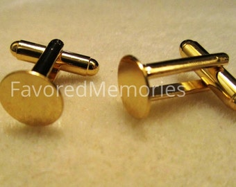 ON SALE - Lot of 12 Gold Cufflinks (6 pairs) - 10 mm Glue Pad
