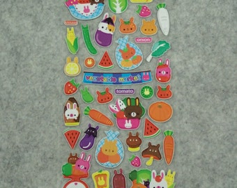 Mixed Adorable Puffy Animals Fruits Veggies Stickers