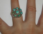 Vintage Handmade Southwestern Native American Navajo Green & Blue Turquoise Petit Point Cab Sterling Silver Ring Size 9