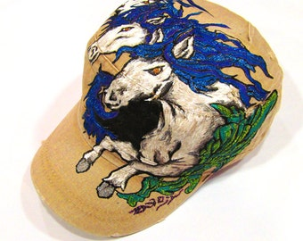 Handpainted Beige Cadet Hat with Three Horses Running tattoo style on adjustable Band