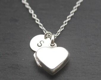 Personalized Locket - sterling silver, mother jewelry, initial locket heirloom locket, silver heart locket, photo locket, mother, wedding