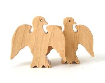 Wood Eagle Toys Waldorf Miniature Animals Noah's Ark Zoo Wildlife Play Set Hand Cut Scroll Saw