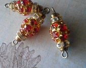 3 Piece Vintage Ruby Red Glass Rhinestone Connectors With Gold Claw setting and Brass Loops, Loose Rhinestone Connectors  Jewelry Making