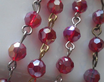 36 Inches, 6 mm Faceted Round AB Ruby Red Glass Beaded Rosary Jewelry Making Supply, gold, gunmetal, silver or brass Chain