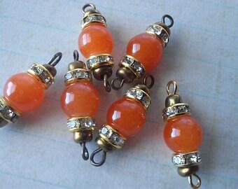 6 X  Vintage Orange Jade Bead Connectors with Brass loops, Orange Bead connectors, Loose Orange Jade Rhinestone Connectors , Jewelry Making