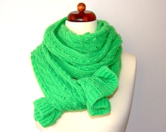 neon green scarf, 8ft, 2.5m, extra long, handknit