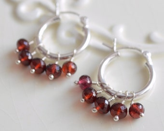 Real Garnet Hoops, Gemstone Earrings, Child Children Girl, Dark Red, Genuine January Birthstone, Wire Wrapped, Sterling Silver Jewelry