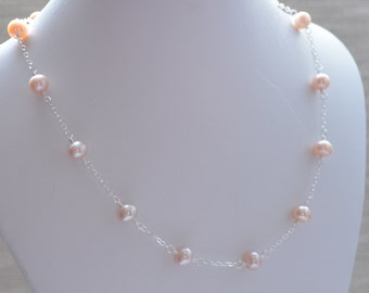 Pink Pearl Necklace, Blush Pink Freshwater Pearl, Sterling Silver Jewelry for Children and Flower Girls