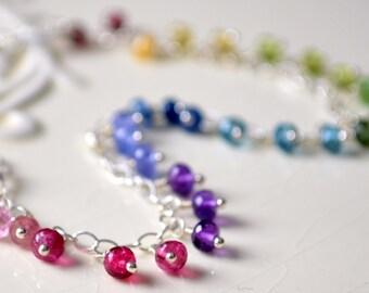 Rainbow Gemstone Bracelet, Colorful Fun, Multicolor Fringe, Genuine Stone, Sterling Silver Jewelry, Free Shipping