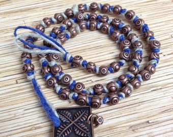Natural and Blue Hemp Copper Bead Necklace