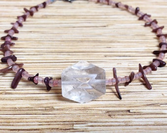 Faceted Crystal and Brown Coral Anklet