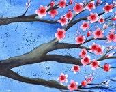 Magenta Cherry Blossom watercolor painting original, Original hand painted pink sakura branch watercolor