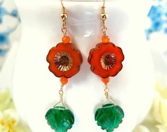 Fire orange cherry blossom leaf gold earrings, Japanese cherry blossom leaf earrings, Mother's Day orange red flower earrings