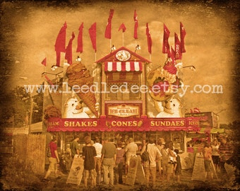 Ice Cream Stand - Vintage Style Original Photograph - Antique Inspired Carnival Photo Home Decor Sepia Wall Art