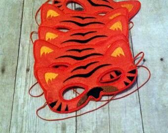 Set of 20 Felt Tiger Mask, Machine Stitched, Kids Mask, Set, Animal Mask Set, Pretend Play, Child Mask, Goody Bag