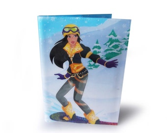 Barbie Book Cover with Notebook Journal - Upcycled Book Page in Vinyl - Winter Snowboarding Illustration
