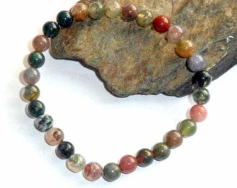Indian Agate Stretch Bracelet earthey