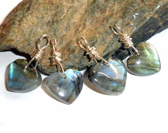 Labradorite Pendant 3 Heart Shaped Sterling Silver earthegy