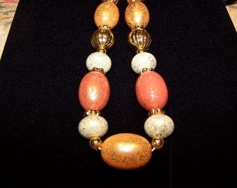 Retro Orange and Gold Beaded Necklace