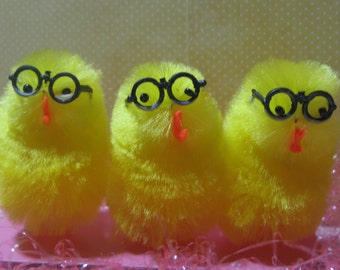 Yellow Chicks or Peeps with Glasses for Embellishment or Supply