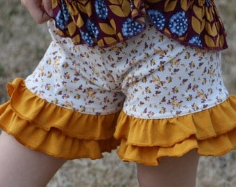12.99 SALE cream with yellow flowers and mustard yellow double ruffle shorts shorties sizes 12m - 14 girls