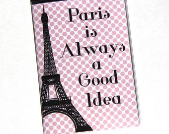 PASSPORT COVER - Paris is Always a Good Idea. Passport Holder, Passport Case, Travel Wallet, Pink Polka Dot, Travel Gift Idea, Gift for Her