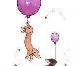 Dachshund Art, Puppy Nursery Print, Purple Balloons, Dachshund Nursery Art, Children's Wall Art, Baby Girl Nursery Purple Nursery Girls Room