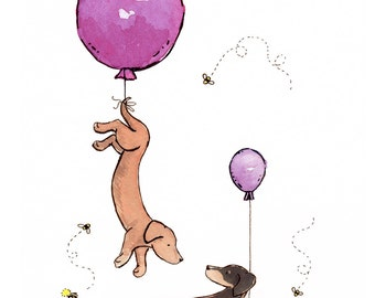Dachshund Art, Puppy Nursery Print, Purple Balloons, Dachshund Nursery Art, Children's Wall Art, Baby Girl Nursery Purple Nursery Girls Room