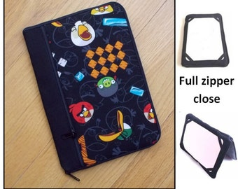 personalized HARD case-  ipad case/ kindle case/ nook case/ samsung case/ others - full zipper close - angry birds