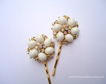 Vintage earrings bobby pins - Exquisite Kramer white and gold with rhinestones embellish decorative jeweled hair accessories TREASURY ITEM