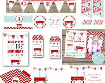 RED WAGON INVITATION Red wagon birthday party invitation Red wagon first birthday Wagon printables Wagon party Little Red Wagon Banner
