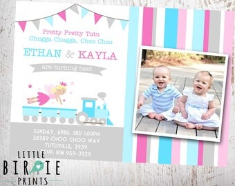 TUTUS AND CHOO Choos Invitation Boy and Girl Twins Dual Invite Features Fairy with Tutu and Train. Tutu's and Choo Choo's