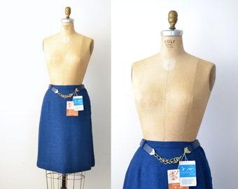 1960s A-Line Slub Skirt / 60s Cobalt Blue Skirt / NOS
