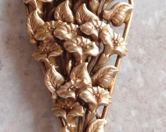 Brass Dress Clip Large Floral Lilies Vintage Antique 082314GL