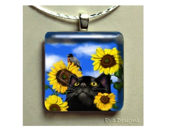 BLACK CAT sunflowers necklace jewelry art gift pet 1 inch glass tile pendant with chain