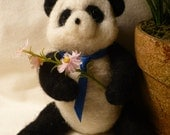 Panda, Needle Felted with Jointed Arms and Legs OOAK