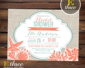 Printable Beach Bridal Shower Invitation - Coral and Teal Seashell Wedding Shower Invite - Nautical Destination Wedding