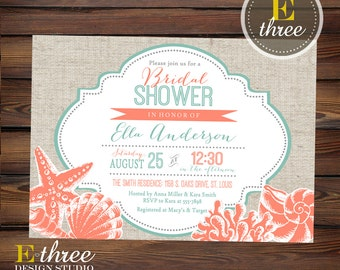 Beach Bridal Shower Invitation - Coral and Teal Seashell Wedding Shower Invite - Nautical Destination Wedding - Linen #1058