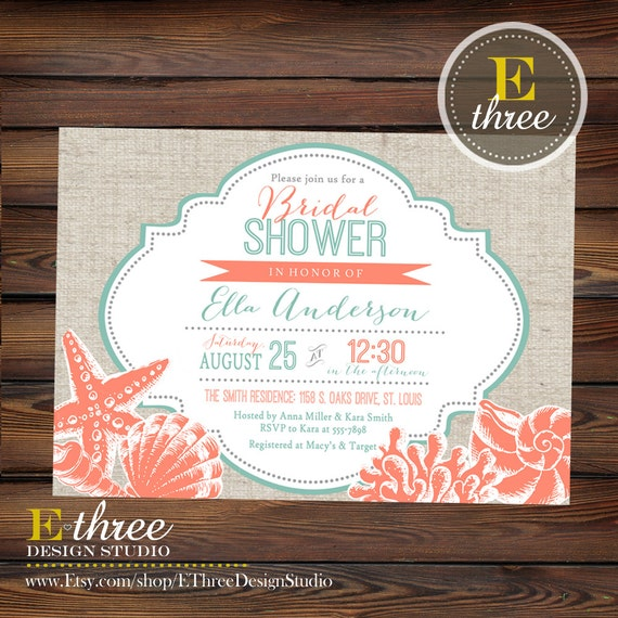 Printable Beach Bridal Shower Invitation - Coral and Teal Seashell Wedding Shower Invite - Nautical Destination Wedding