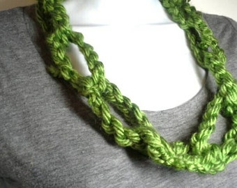 Green Crocheted Chain Link Infinity Scarf