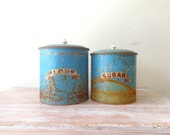 Rustic Vintage Blue Kitchen Canisters