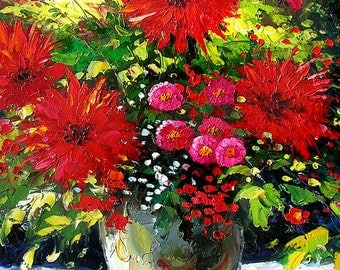 Colorful Original Painting Knife Oil Flowers Red Gerbera Pink Green Summer Vase Bouquet Arrangement Handmade home office ART by Marchella