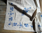 Vintage Needlework Floral Tablecloth in Blues