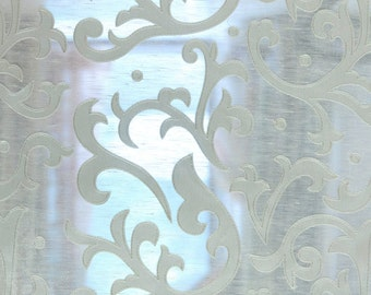 Ivory Abstract Embroidery Sheer Poly Linen 140 cm Width Curtain Fabric Panels Drapery Window Treatment Fabric Bedroom Curtain Drapes