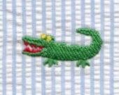 Fabric Finders Embroidered Alligator on Light Blue Seersucker Cotton Fabric