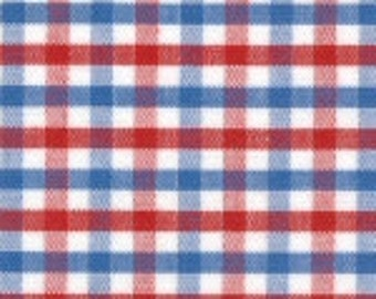Fabric Finders Blue and Red Tri-Check Cotton Fabric