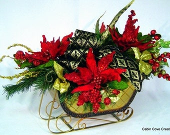 Holiday Sleigh Centerpiece Christmas Floral Arrangement Black Gold Fleur de Lis Red Poinsettias Traditional design by Cabin Cove Creations
