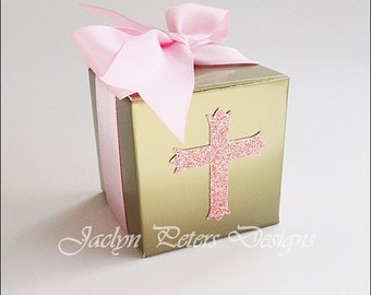 Baptism Candy Favor Box, PInk And Gold, DIY KIT, Girls First Communion Party, Glitter Cross, Satin Ribbon Bow, Rosary Bead Box, Set Of 25