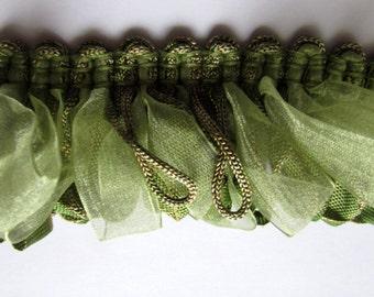 Amazing ribbon Fringe trim in greens