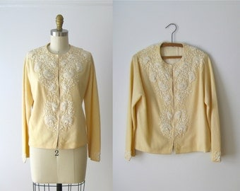 vintage beaded sweater / beaded cardigan sweater